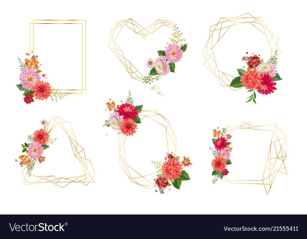 Watercolor floral frames for wedding invitation Vector Image