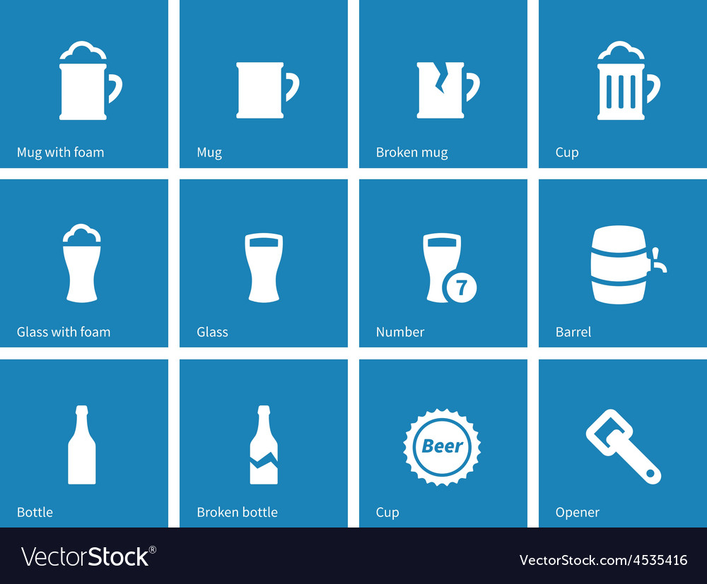 Beer and alcohol glasses icons on blue background