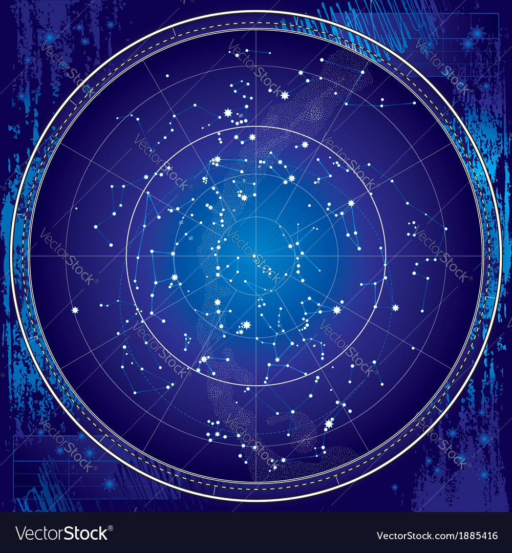 Celestial Map of The Night Sky Royalty Free Vector Image on