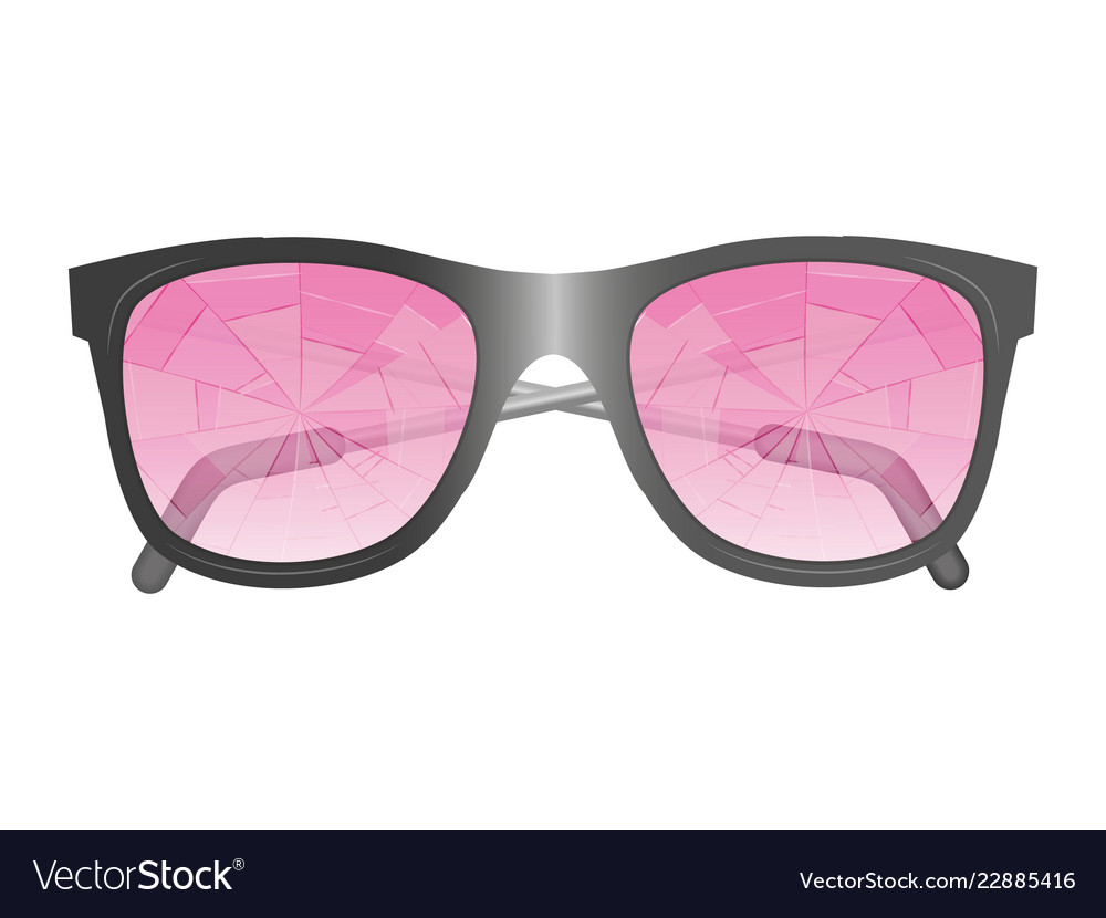 Glasses with broken pink glasses isolated image