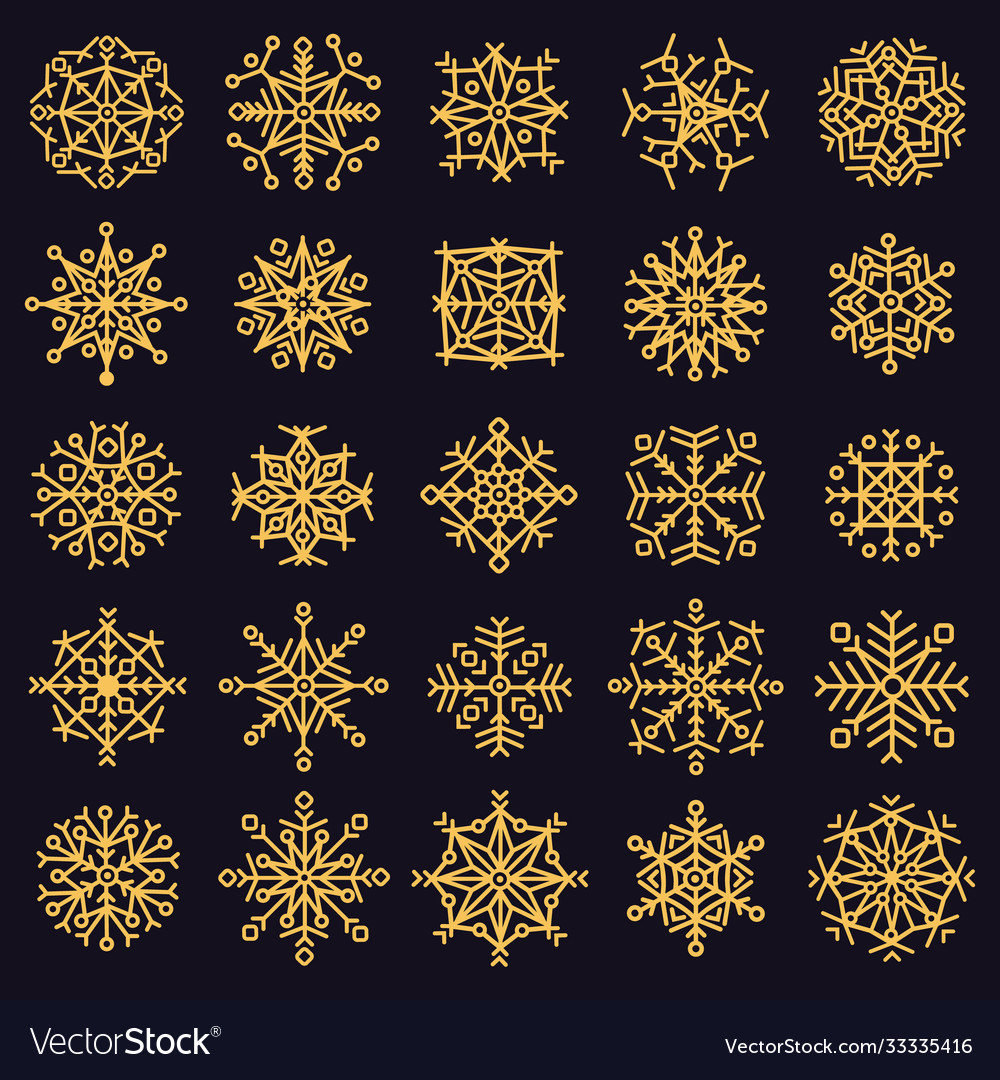 Golden snowflakes winter frosted snowflake gold
