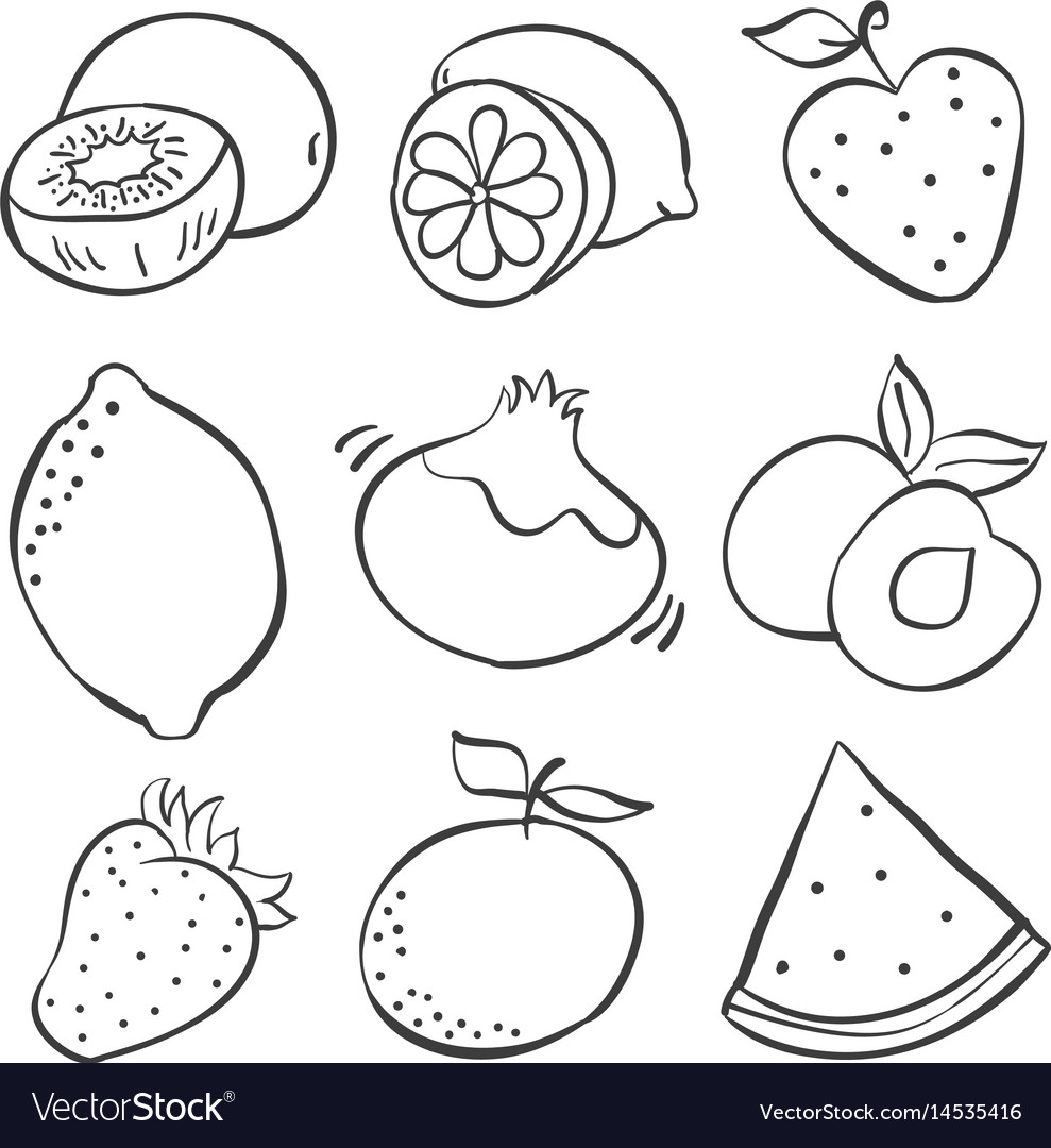 Hand Draw Fruits Of Doodles Royalty Free Vector Image