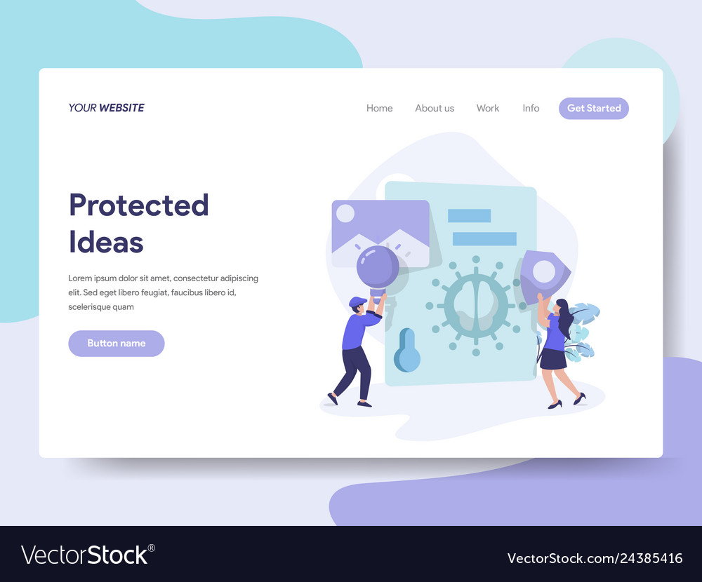 Landing page template of protected ideas concept