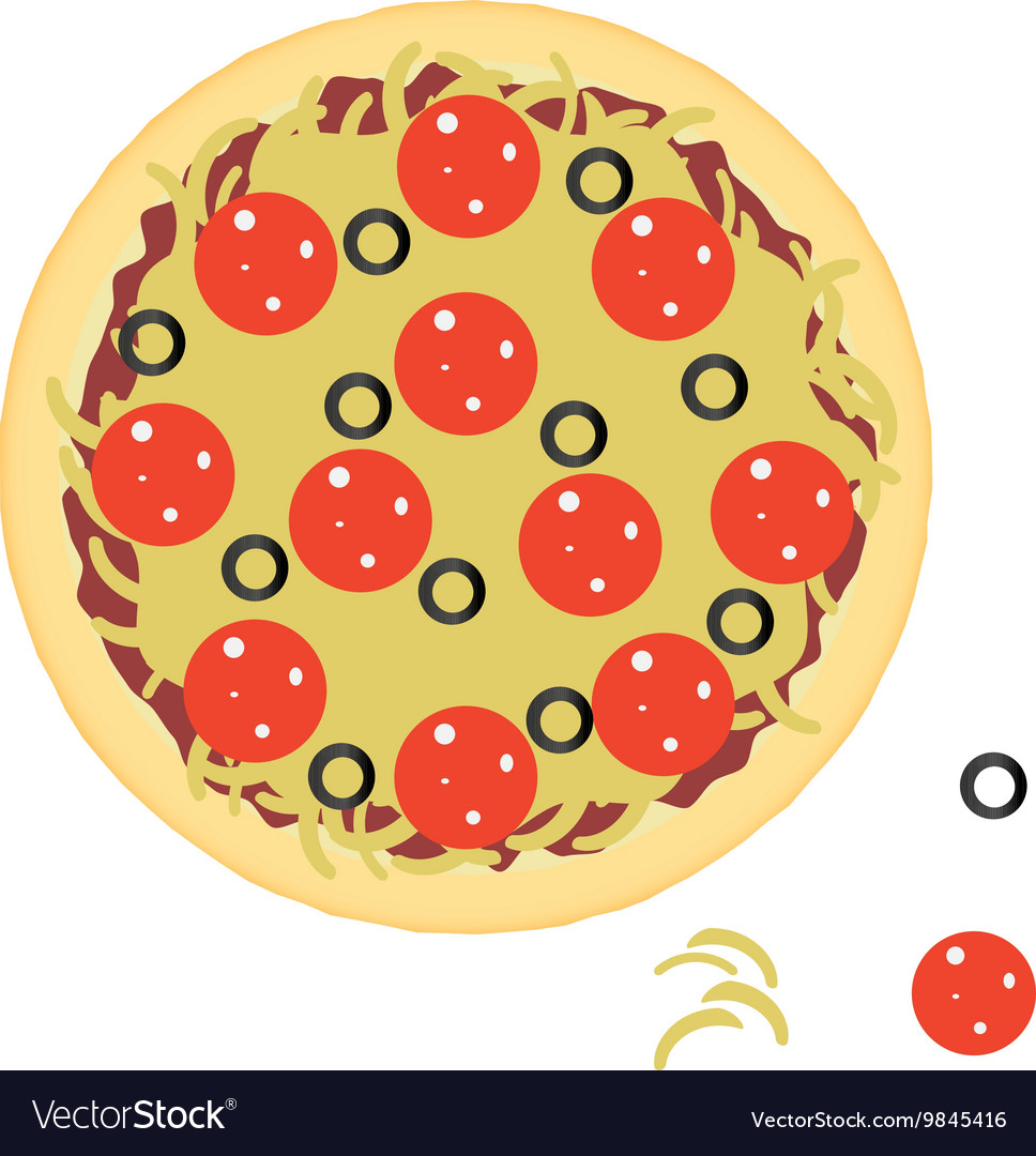 Pepperoni pizza with ingredients vector image