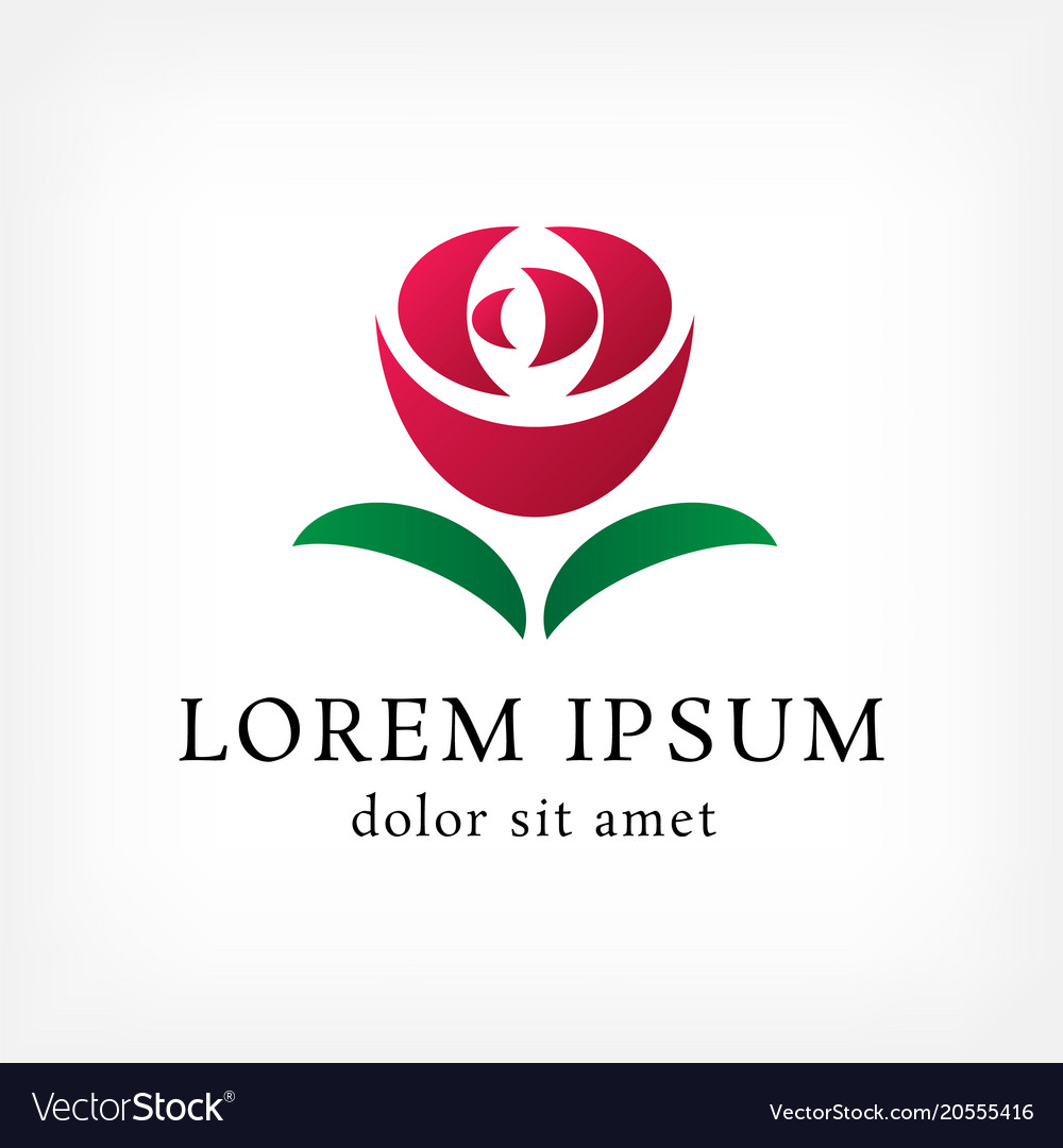 Red Rose With Leaf Curve Logo Design Template Vector Image