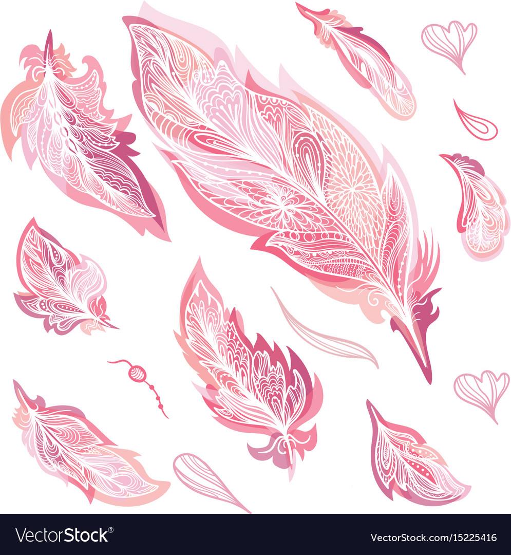 Romantic feathers set