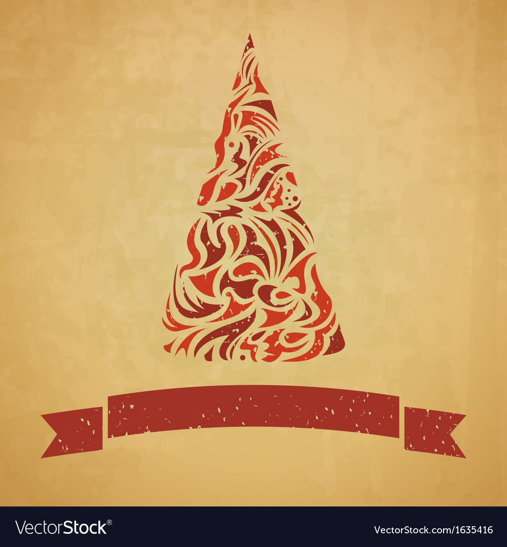 Template of christmas card with a fir tree