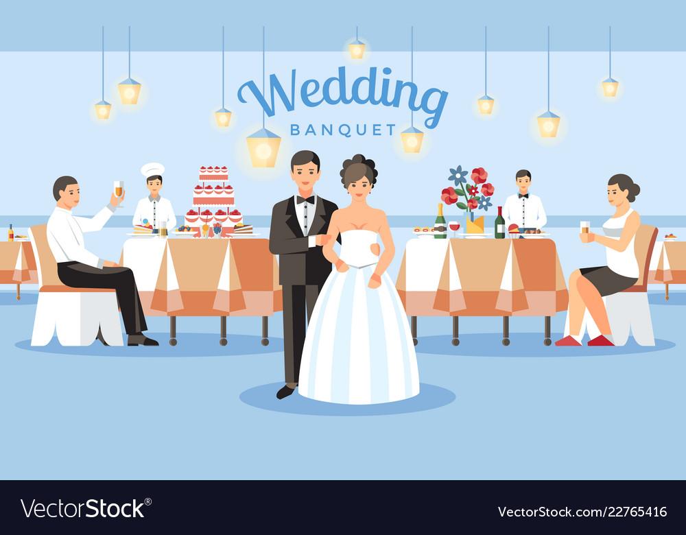 Wedding banquet concept flat Royalty Free Vector Image
