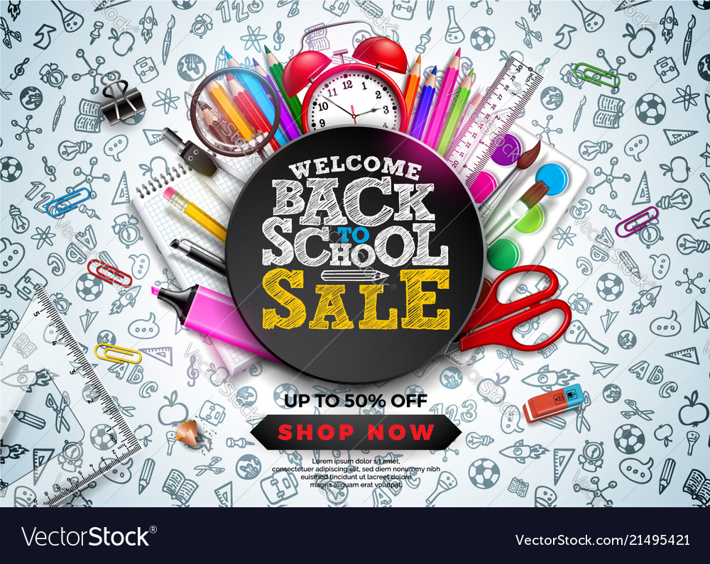 Back to school sale design with colorful pencil