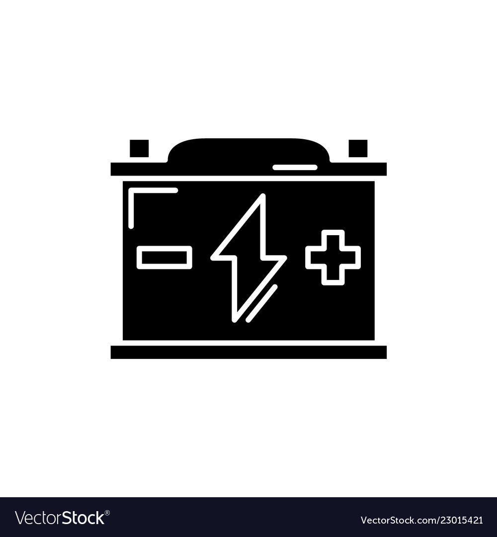 Battery black icon sign on isolated