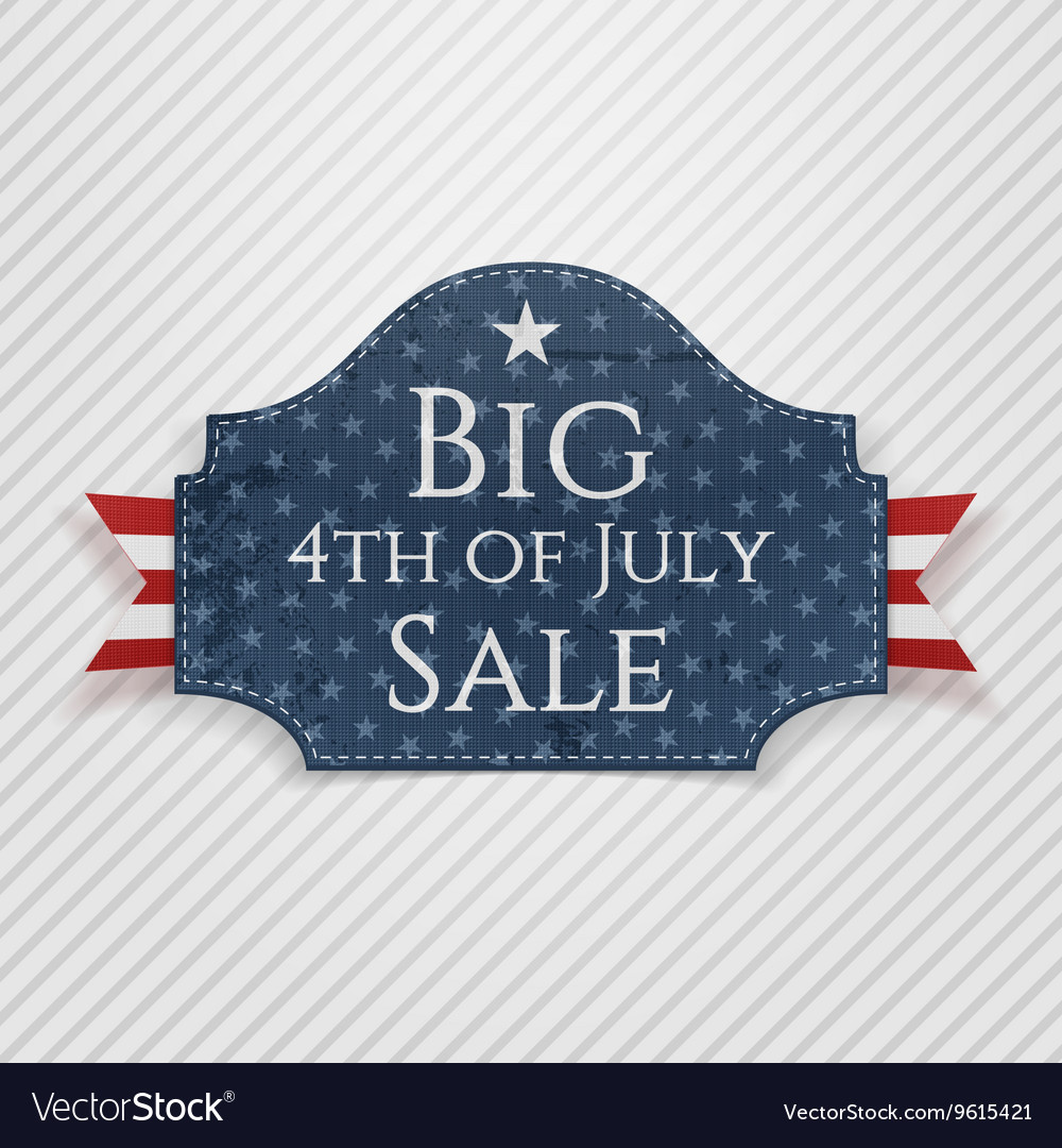 Big 4th of July Sale Tag with Ribbon
