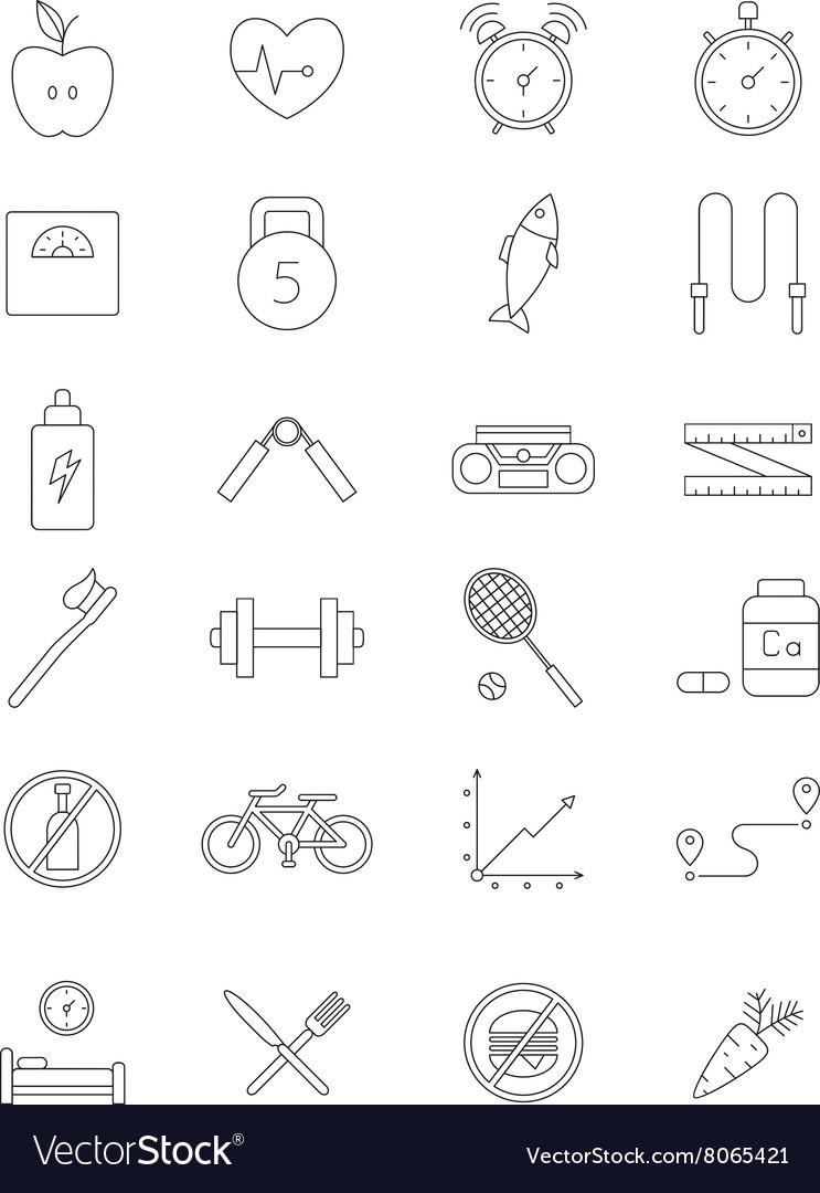 Black fitness icons set