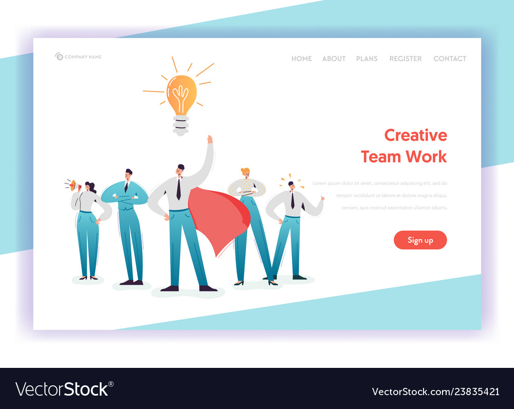 Business team work concept landing page template