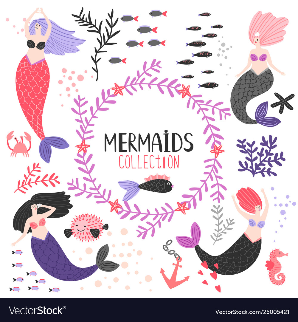 Cartoon character mermaids and fishes