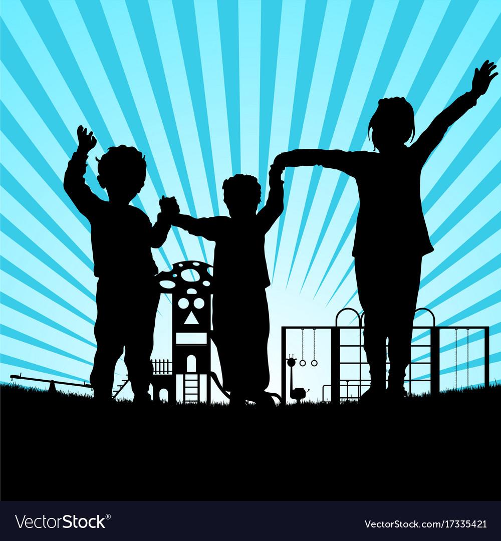 Children in the park silhouette