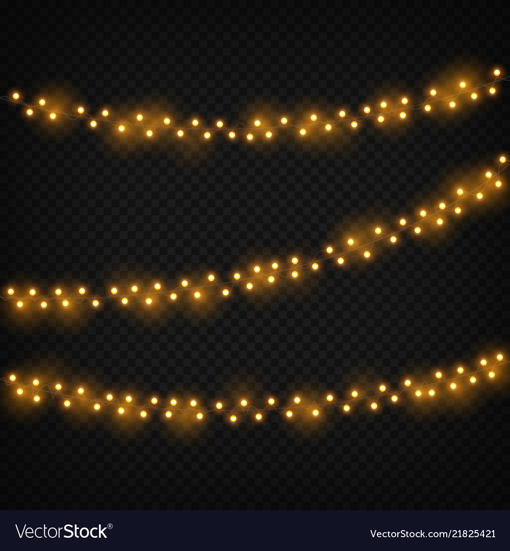 Christmas lights xmas realistic glowing golden