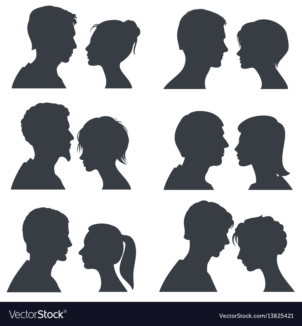 Couple faces young boy and girl head