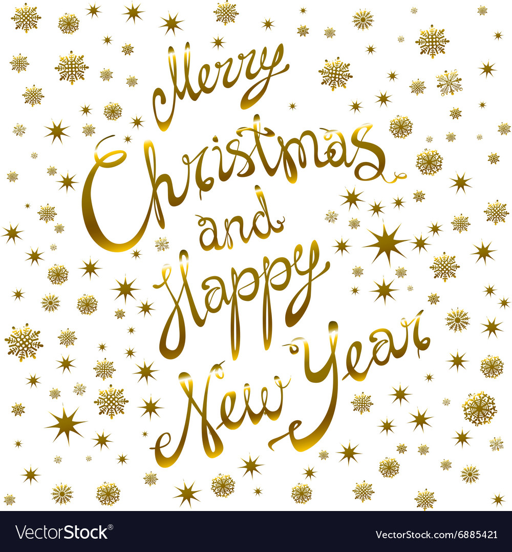 golden glowing merry christmas and happy new year vector image