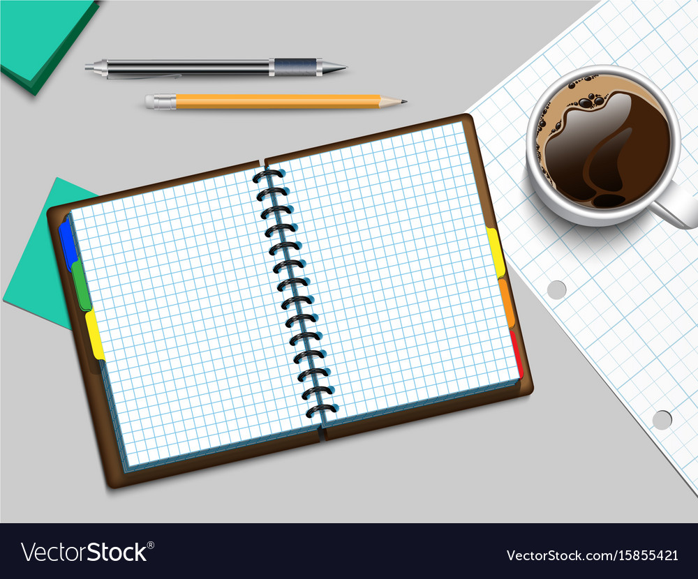 Notebooke and cup of coffee vector image