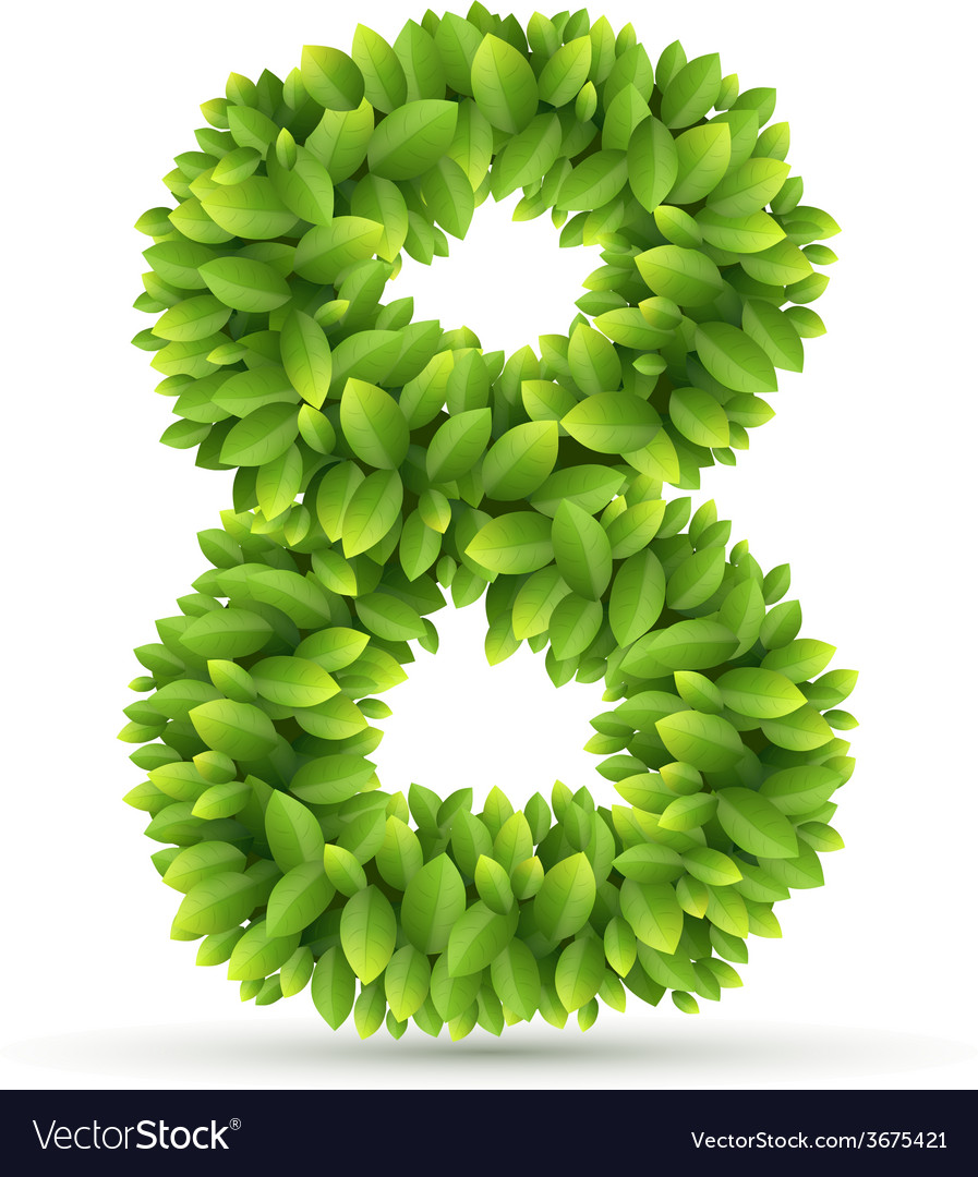Number alphabet of green leaves vector image