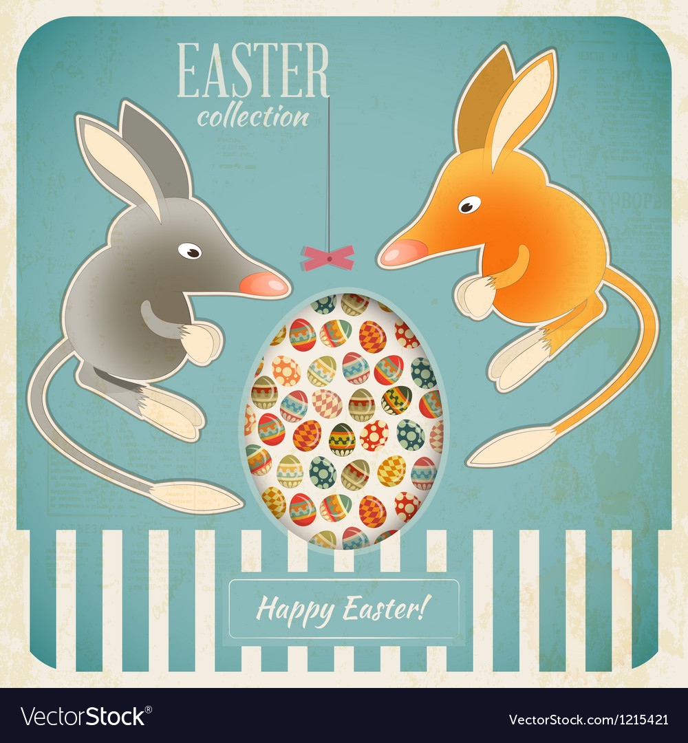Retro Vintage Card with Easter Australian Bilby vector image