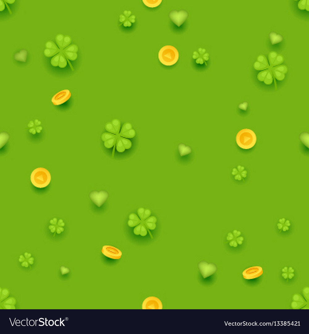 Seamless pattern saint patrick day gold coins vector image