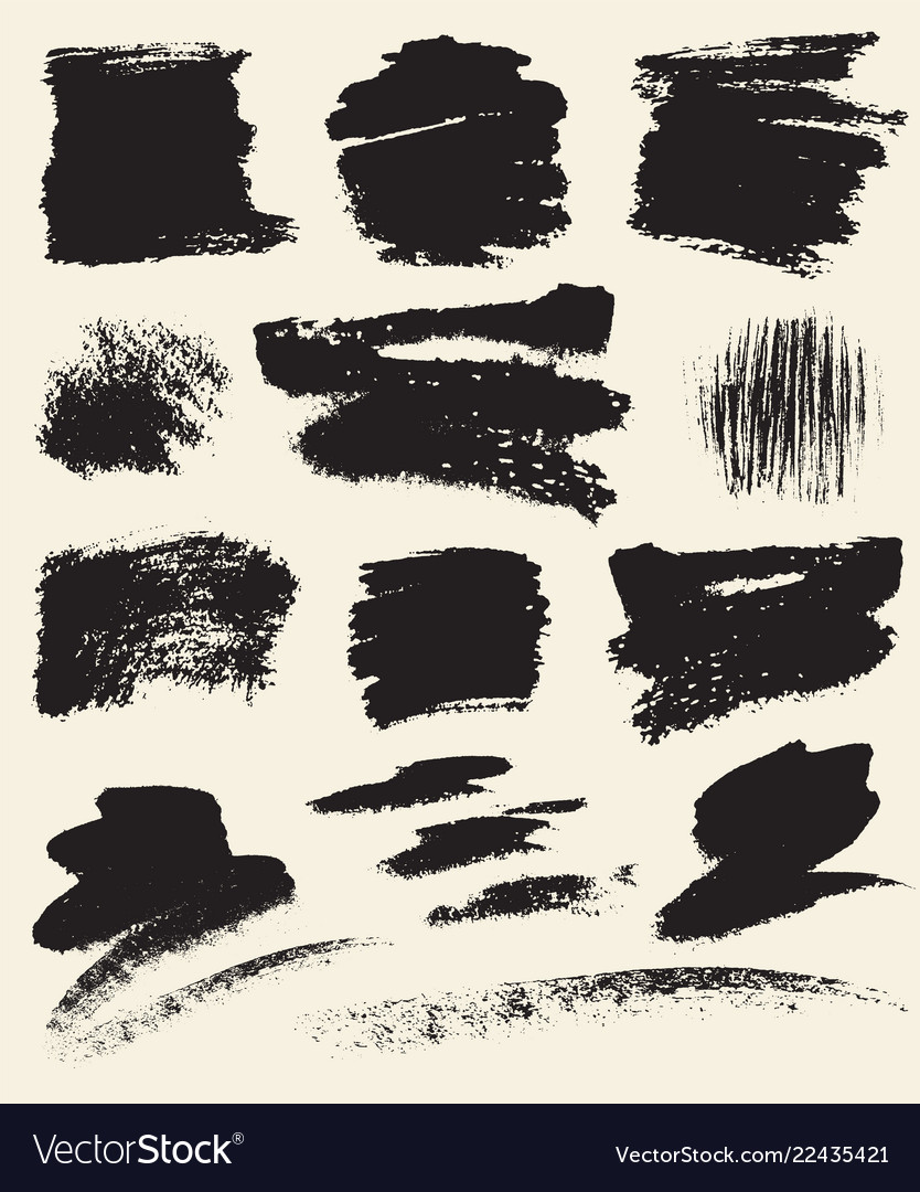 Set of hand drawn brush strokes and stains