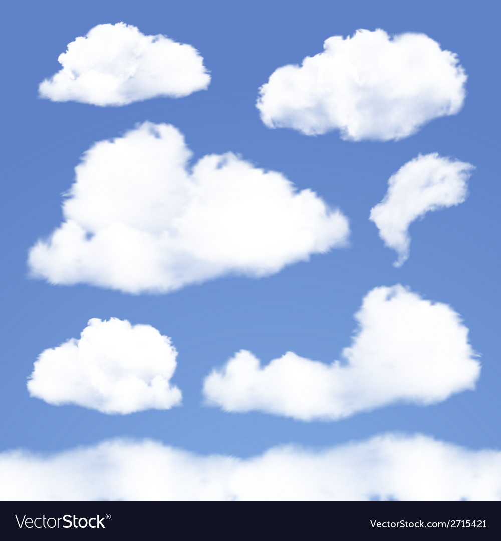 Set of Realistic Clouds on blue sky vector image