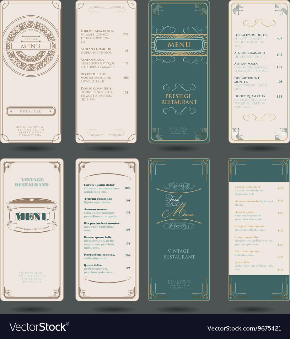 Set Of Vintage Restaurant Menu Design Template
