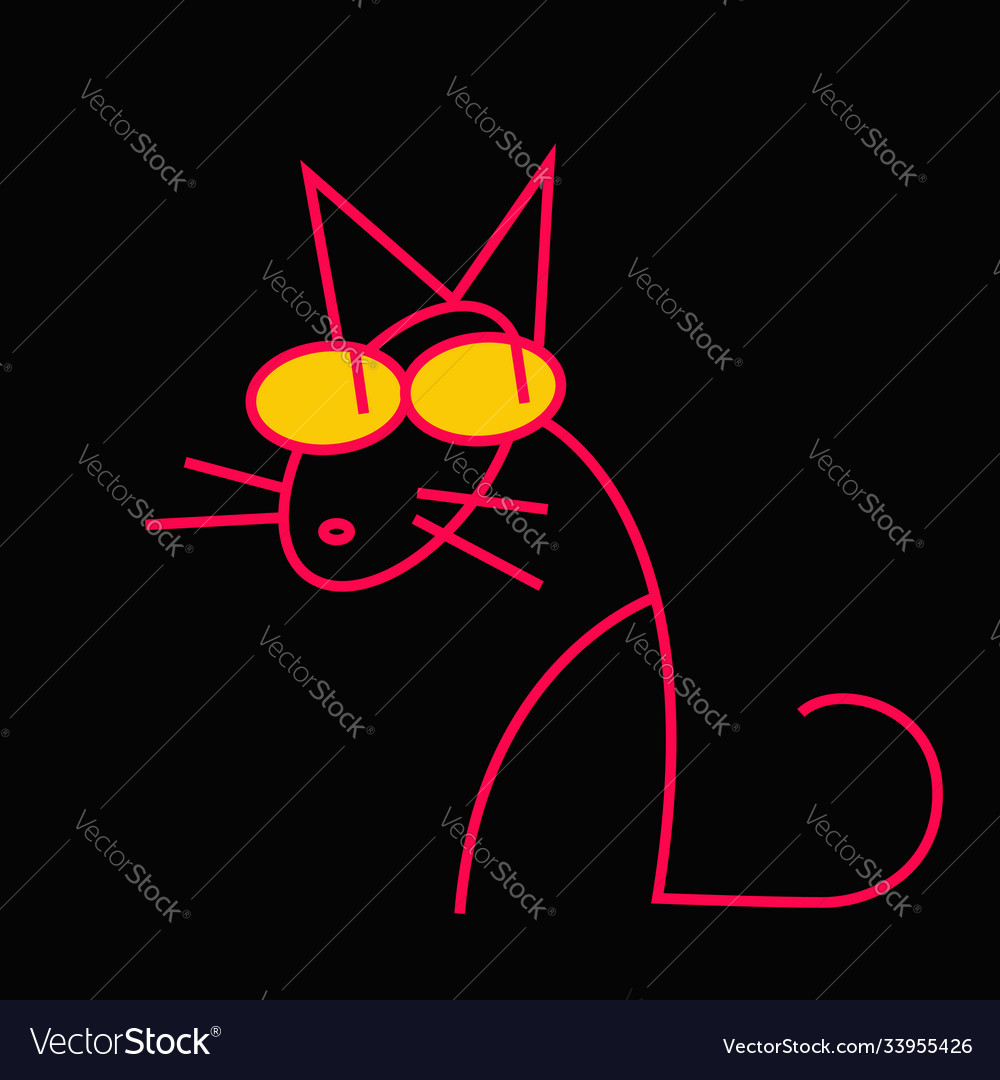 A red cat on a black background