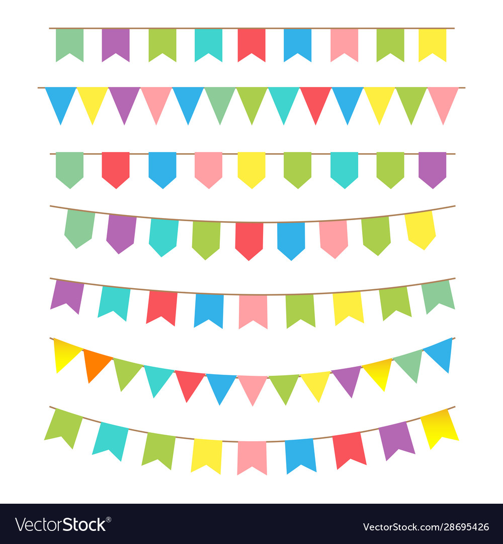 Bunting and garland set icon