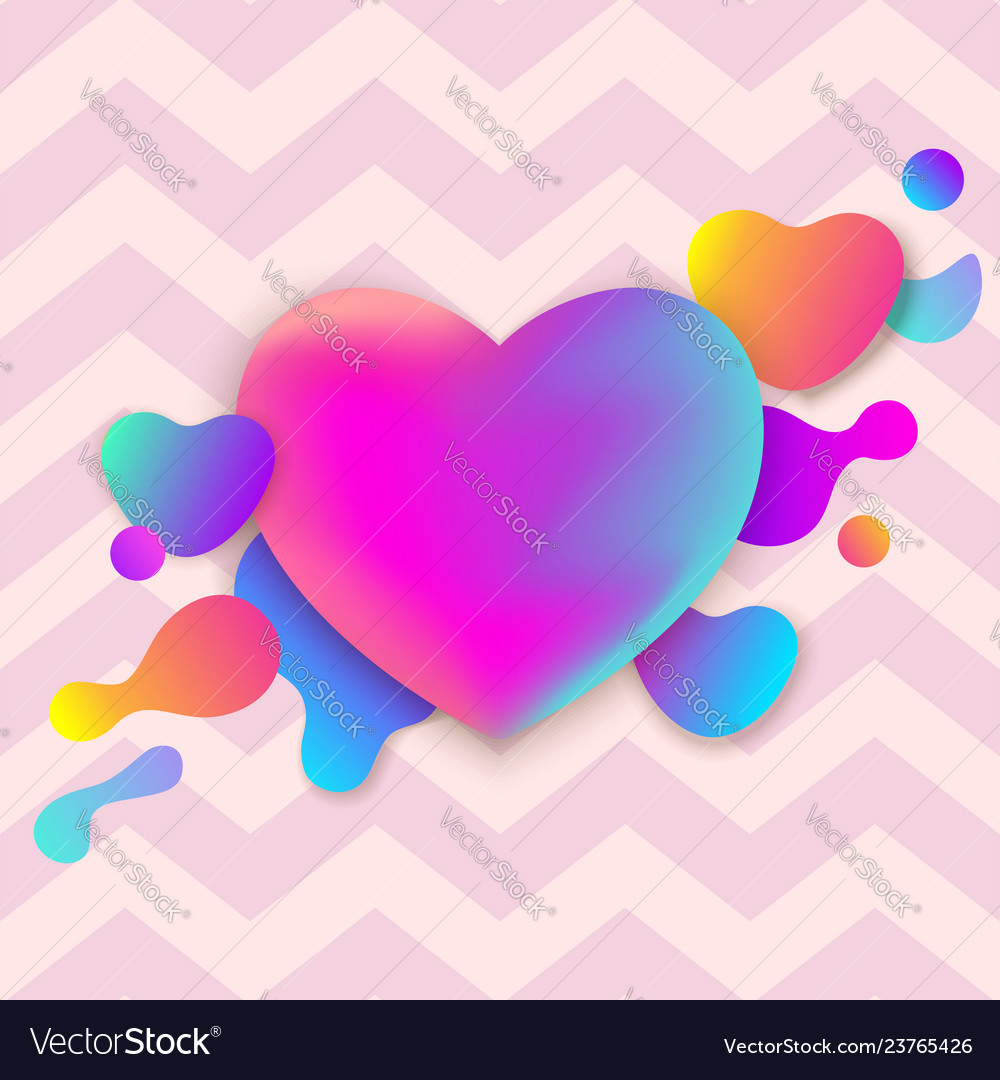 Colorful abstract neon gradient heart