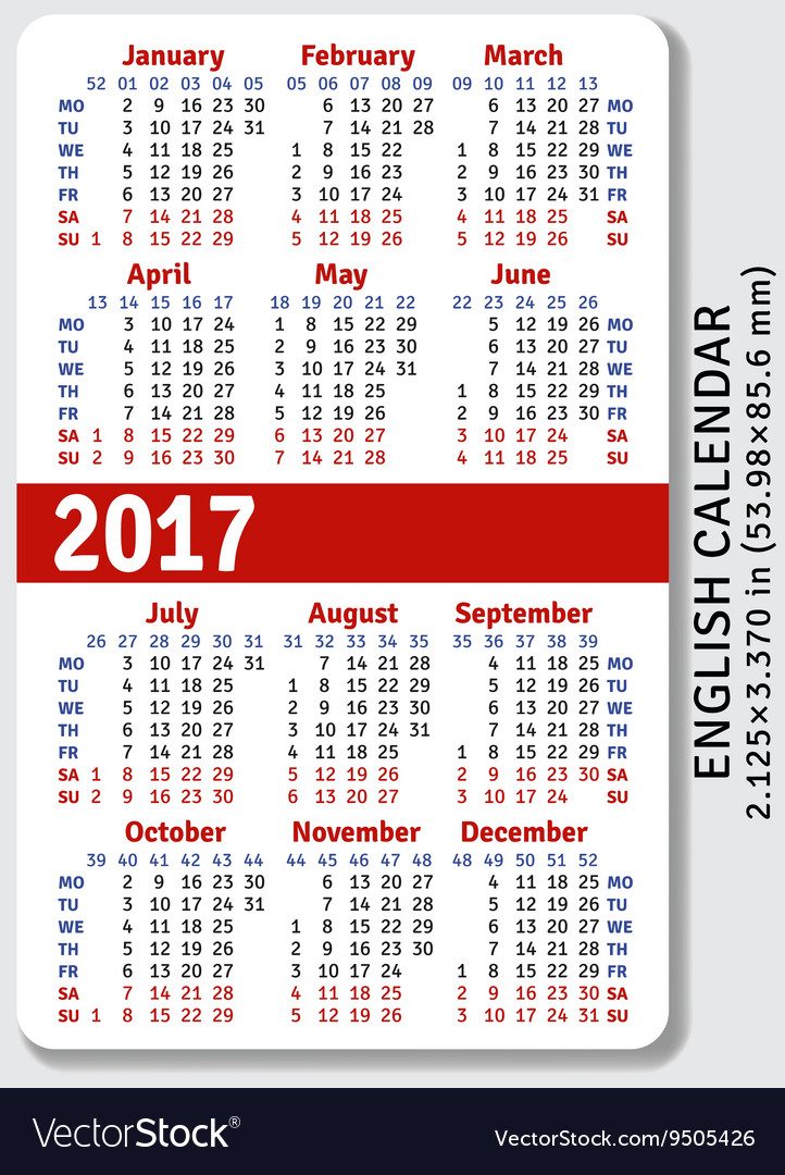 English Pocket Calendar For 2017 Vector Image