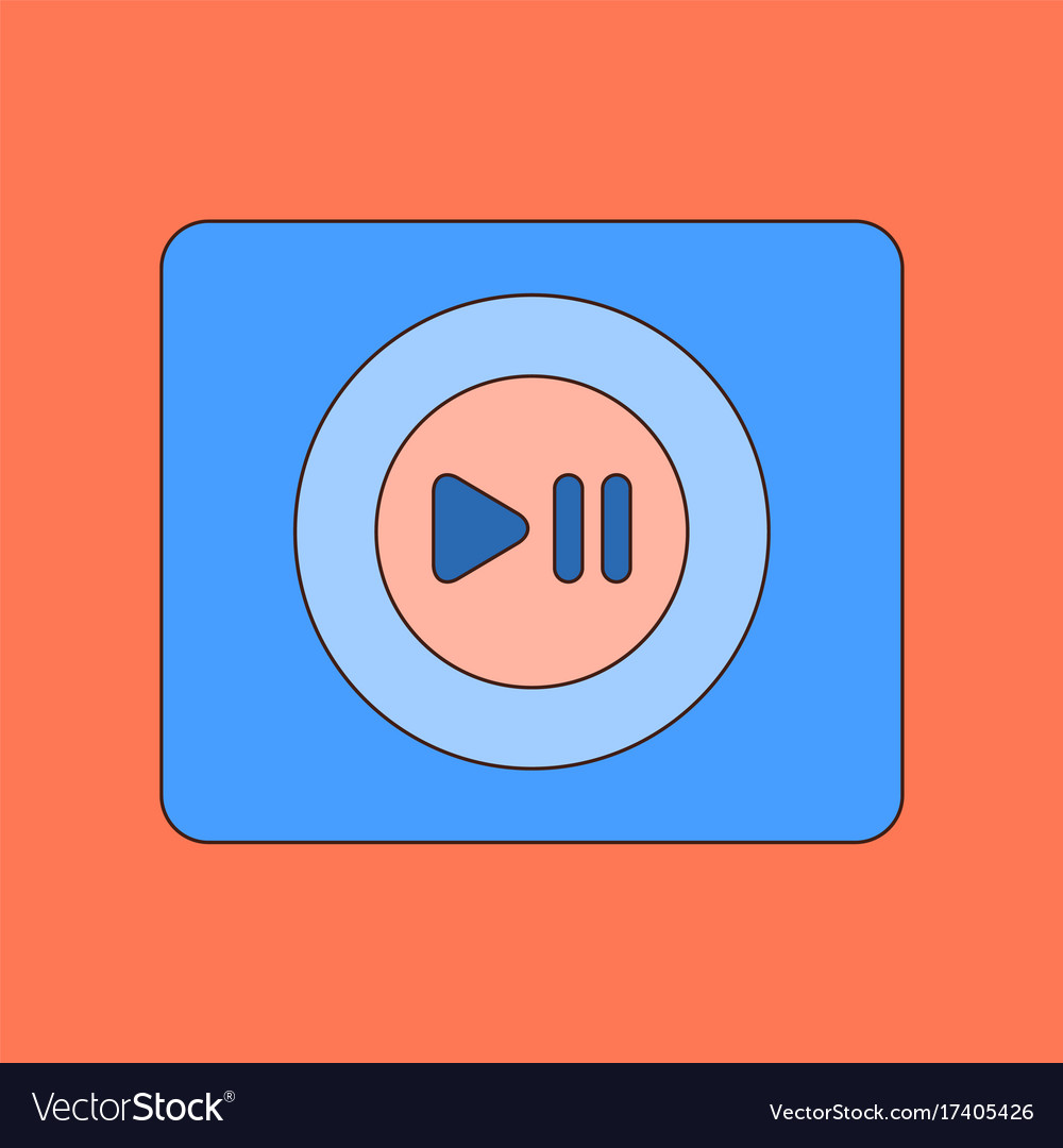 Flat icon on background music player vector image on VectorStock