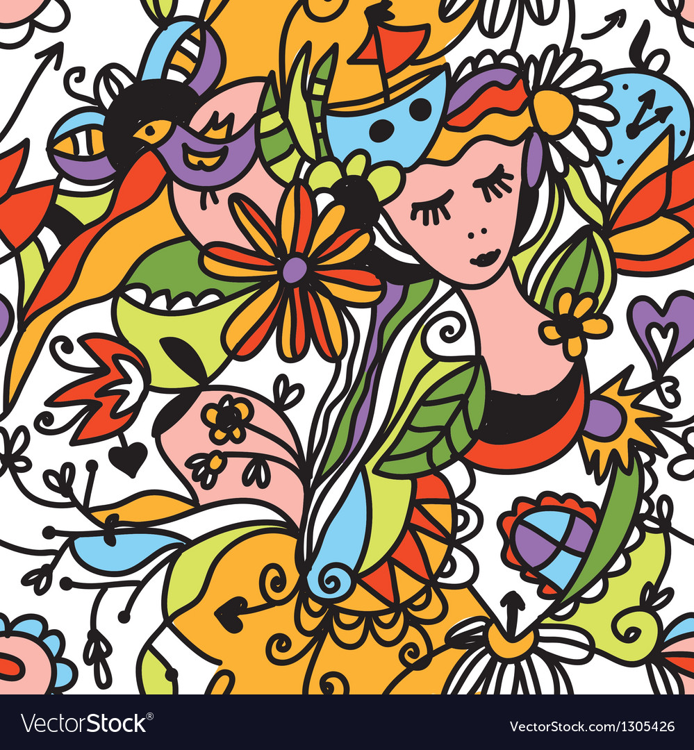 Floral seamless pattern with girl face