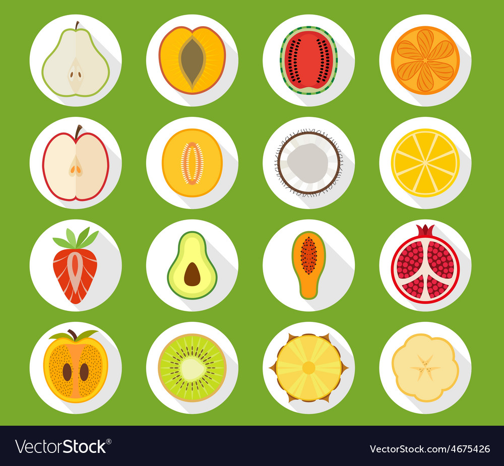 Fruit icon set with long shadow