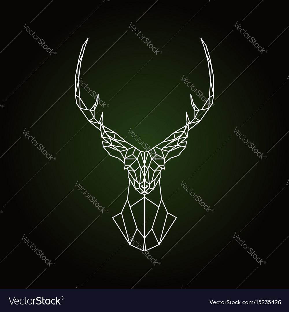 Geometric deer head on dark green background