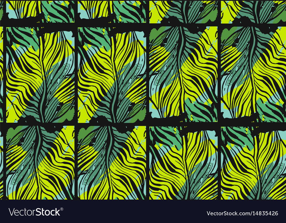 Hand drawn abstract tropical seamless