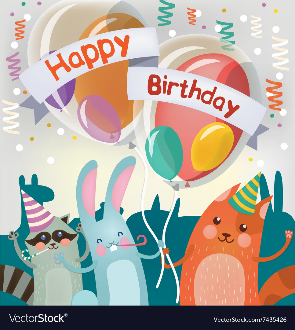 Happy Birthday Greeting Card With Cute Animals Vector Image