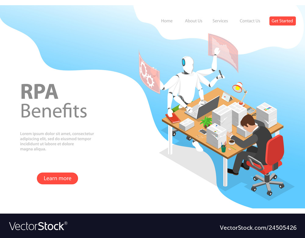 Isometric flat landing page template of rpa
