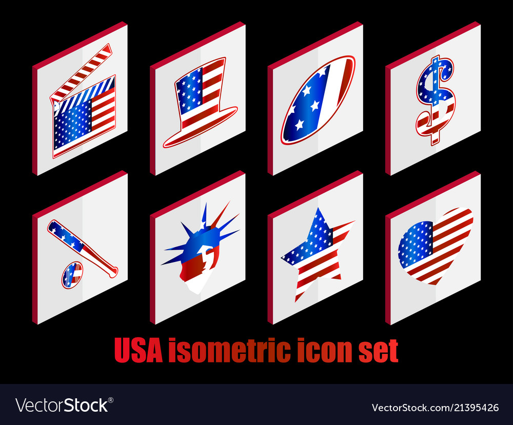 Isometric set of usa icons the color of the flag