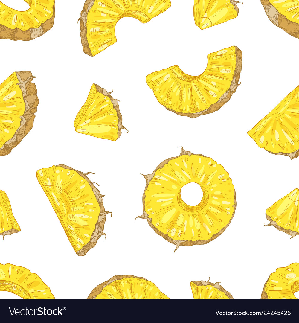 Natural seamless pattern with juicy pineapple