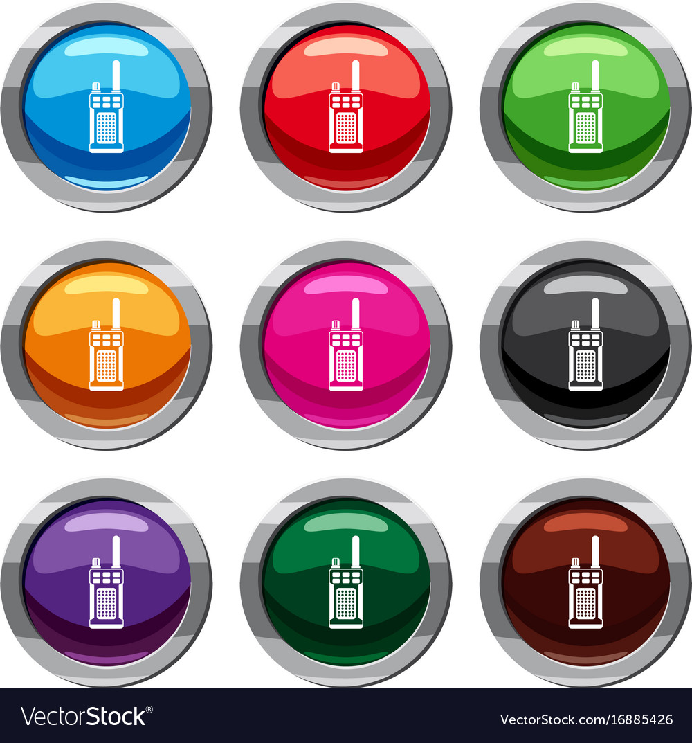 Portable handheld radio set 9 collection vector image