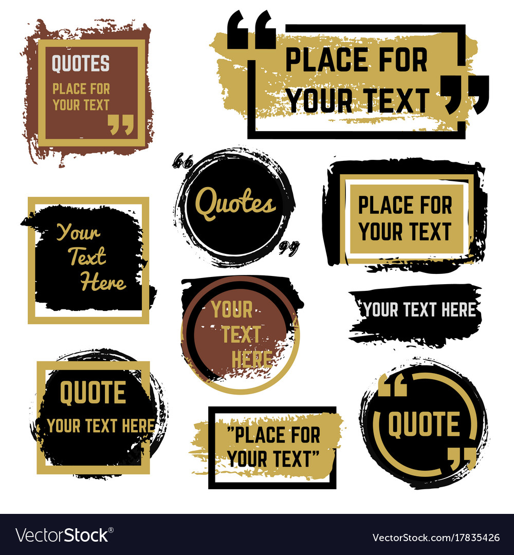 quotes speech bubbles with frames and distressed vector image