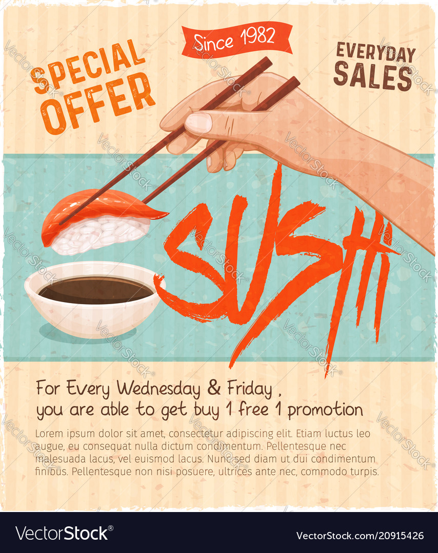 Retro sushi menu vector image