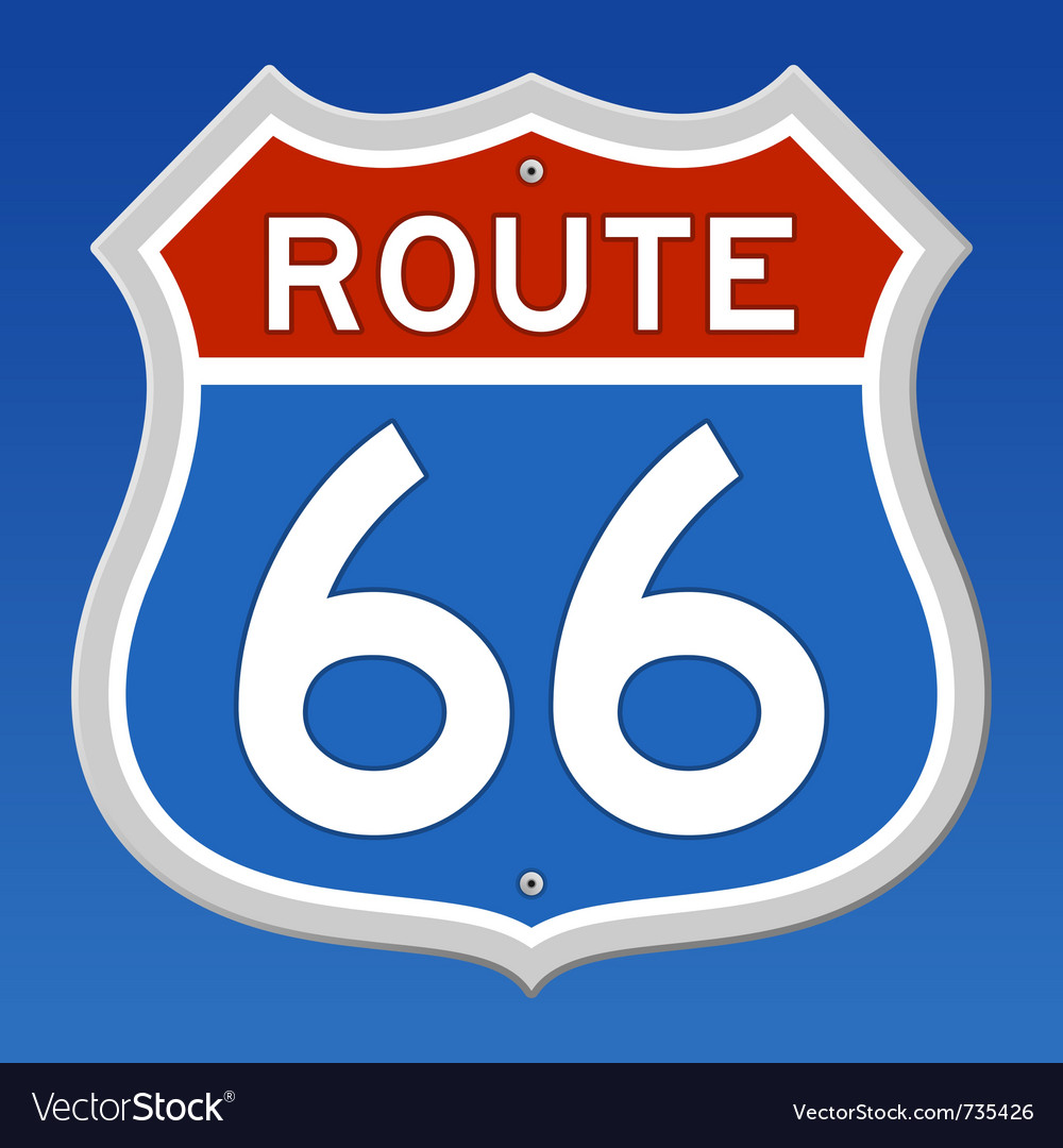 Route 66 road sign vector image