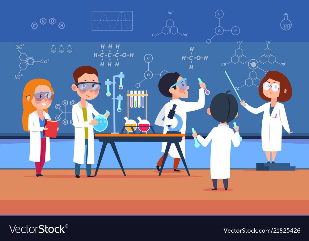 School kids in chemistry lab children in science