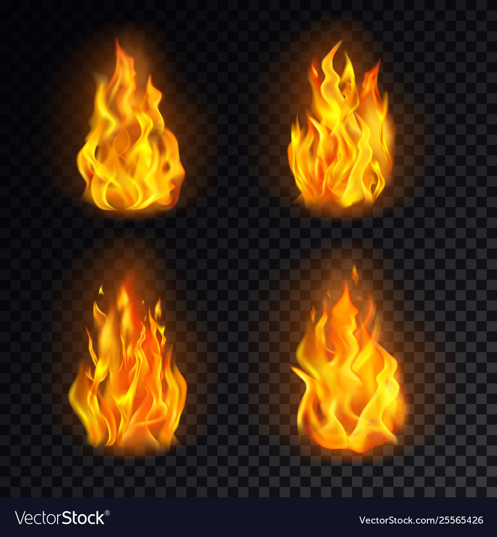 Set isolated 3d fire or realistic burn flame