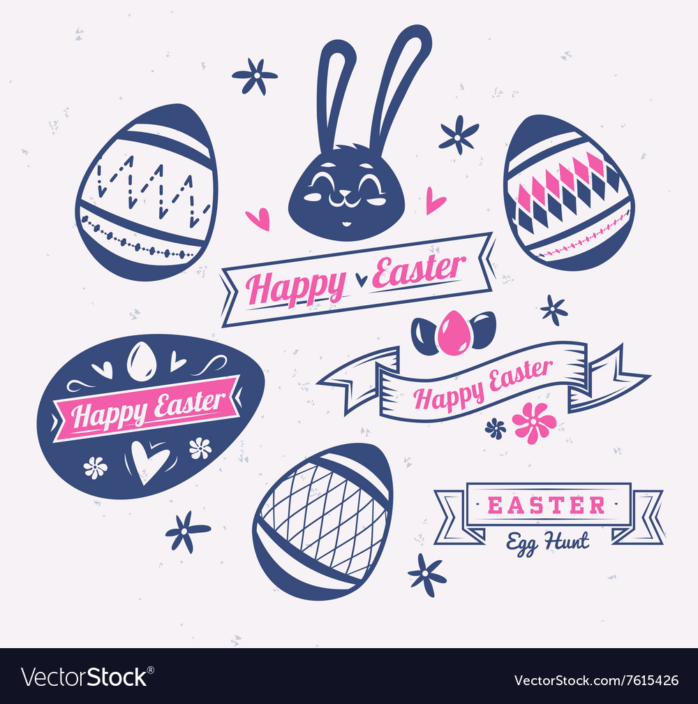 Set of Easter logos and labels cute
