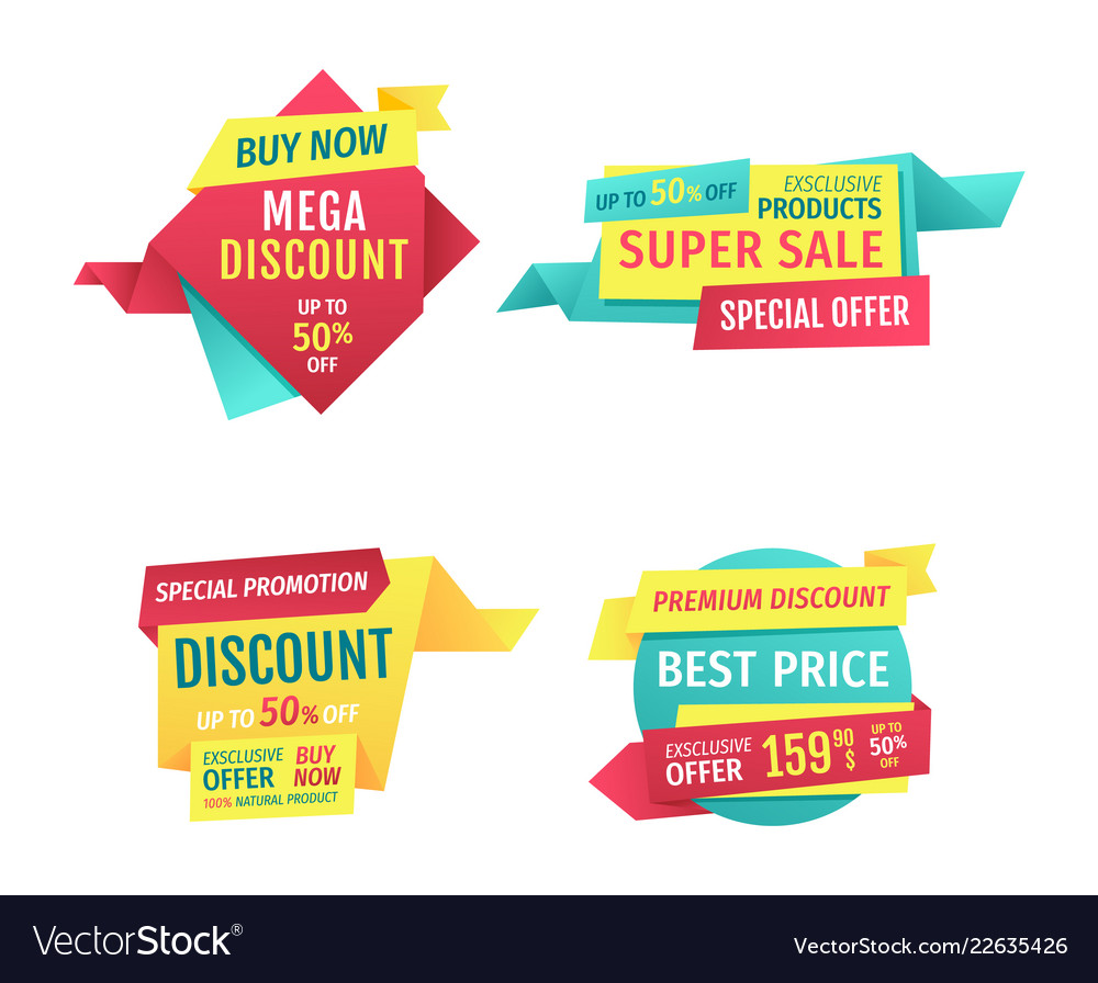Special offer banners set design icons